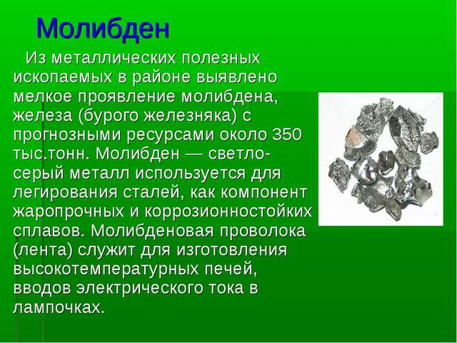 Молибден Изметаллических полезных ископаемых в районе выявлено мелкоепроявл...