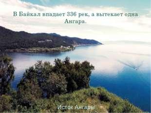 В Байкал впадает 336 рек, а вытекает одна Ангара. Исток Ангары