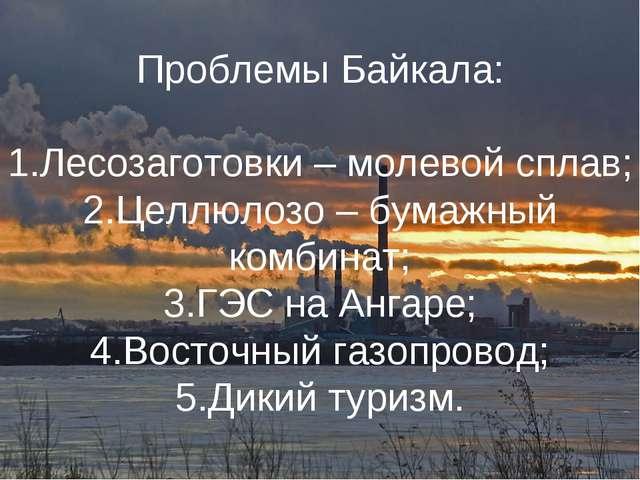 Проблемы Байкала: Лесозаготовки – молевой сплав; Целлюлозо – бумажный комбина...