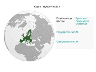 Карта стран-членов Политические центрыБрюссель Люксембург Страсбург Государс