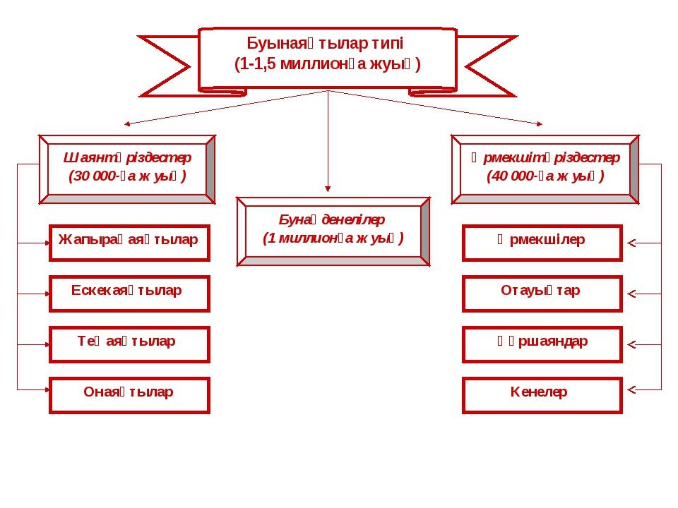 Буынаяқтылар типі (1-1,5 миллионға жуық) Шаянтәріздестер (30 000-ға жуық) Жап...