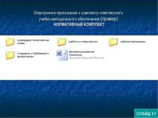 Электронное приложение к комплекту комплексного учебно-методического обеспече