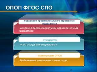 ОПОП ФГОС СПО - основной профессиональной образовательной программой - ФГОС С