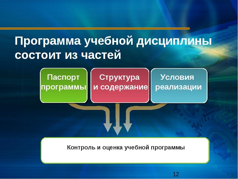 Программа учебной дисциплины состоит из частей Паспорт программы Структура и...