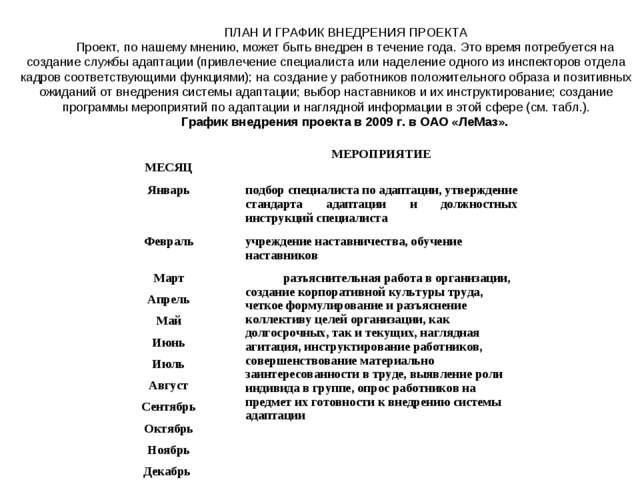 ПЛАН И ГРАФИК ВНЕДРЕНИЯ ПРОЕКТА Проект, по нашему мнению, может быть внедрен...