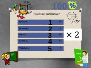 100 1 2 3 4 5 Назови известного математика. Пифагор 13 Альберт Эйнштейн 12 Ло