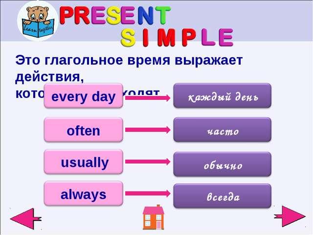 Это глагольное время выражает действия, которые происходят