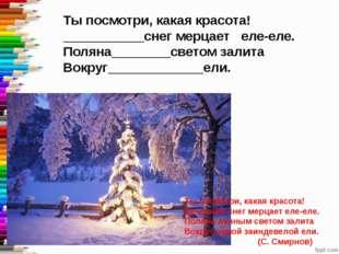Ты посмотри, какая красота! ___________снег мерцает еле-еле. Поляна________св
