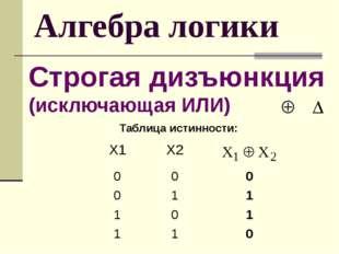 Алгебра логики Строгая дизъюнкция (исключающая ИЛИ) Таблица истинности: Х1 Х