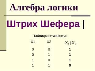 Алгебра логики Штрих Шефера | Таблица истинности: Х1 Х2 0 0 1 0 1 1 1 0 1 1