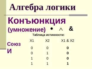 Алгебра логики Конъюнкция (умножение) Таблица истинности: Союз И Х1 Х2 X1&X2