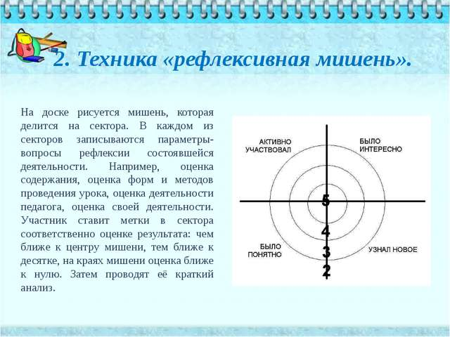 2. Техника «рефлексивная мишень». На доске рисуется мишень, которая делится н...