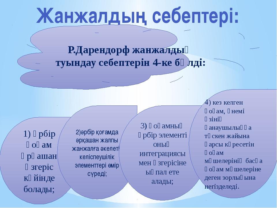 Жанжалдың себептері: Р.Дарендорф жанжалдың туындау себептерін 4-ке бөлді: 1)...