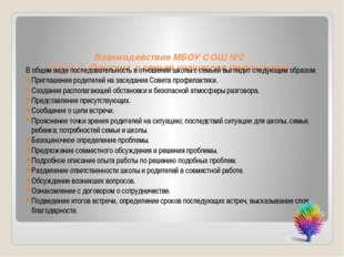 Взаимодействие МБОУ СОШ №2 им. А.С. Пушкина с семьей учащегося группы риска