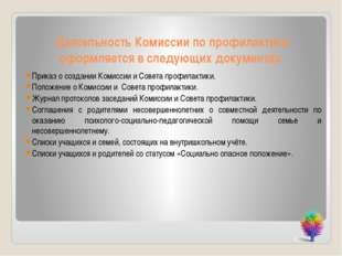 Деятельность Комиссии по профилактики оформляется в следующих документах: При