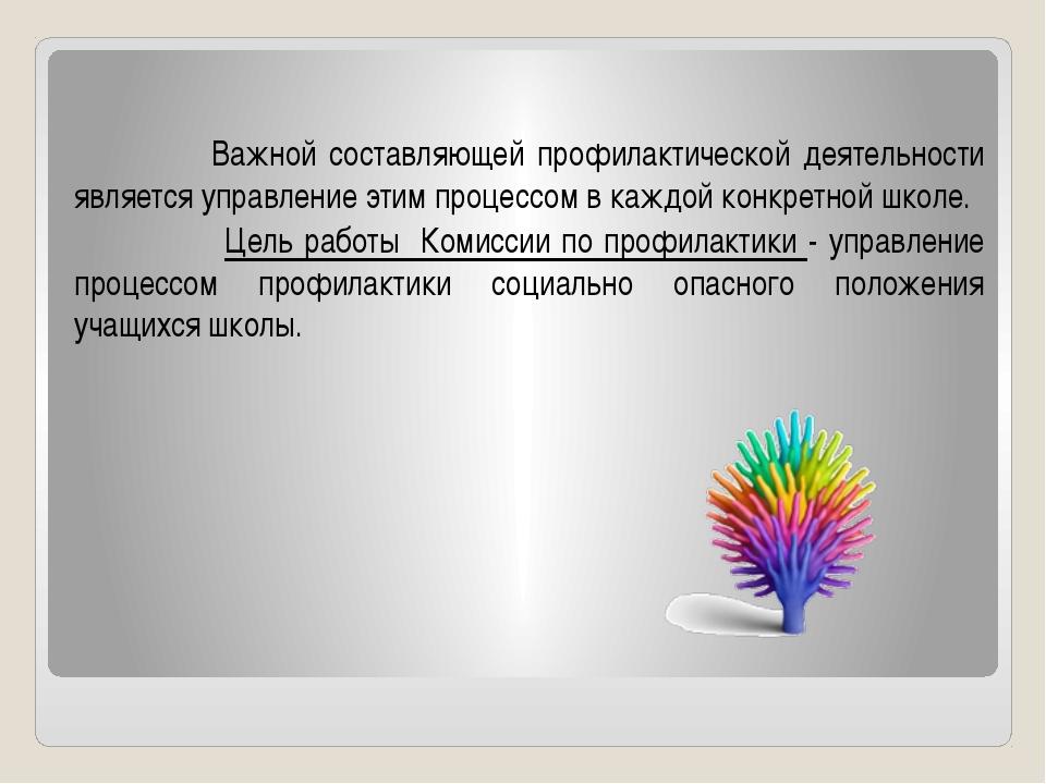 Важной составляющей профилактической деятельности является управление этим п...