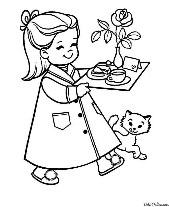Раскраска Сюрприз маме на 8 марта Раскраски 8 марта