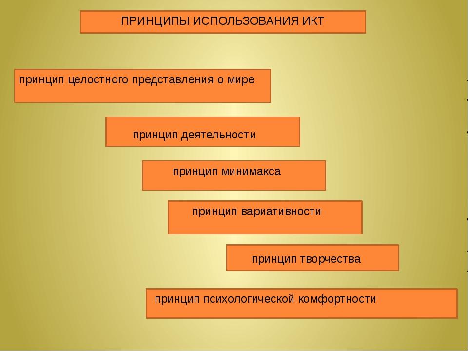 ПРИНЦИПЫ ИСПОЛЬЗОВАНИЯ ИКТ принцип целостного представления о мире принцип д...