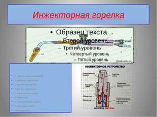Инжекторная горелка 1. ниппель кислородный 2.ниппель ацетилена 3.трубка кисло