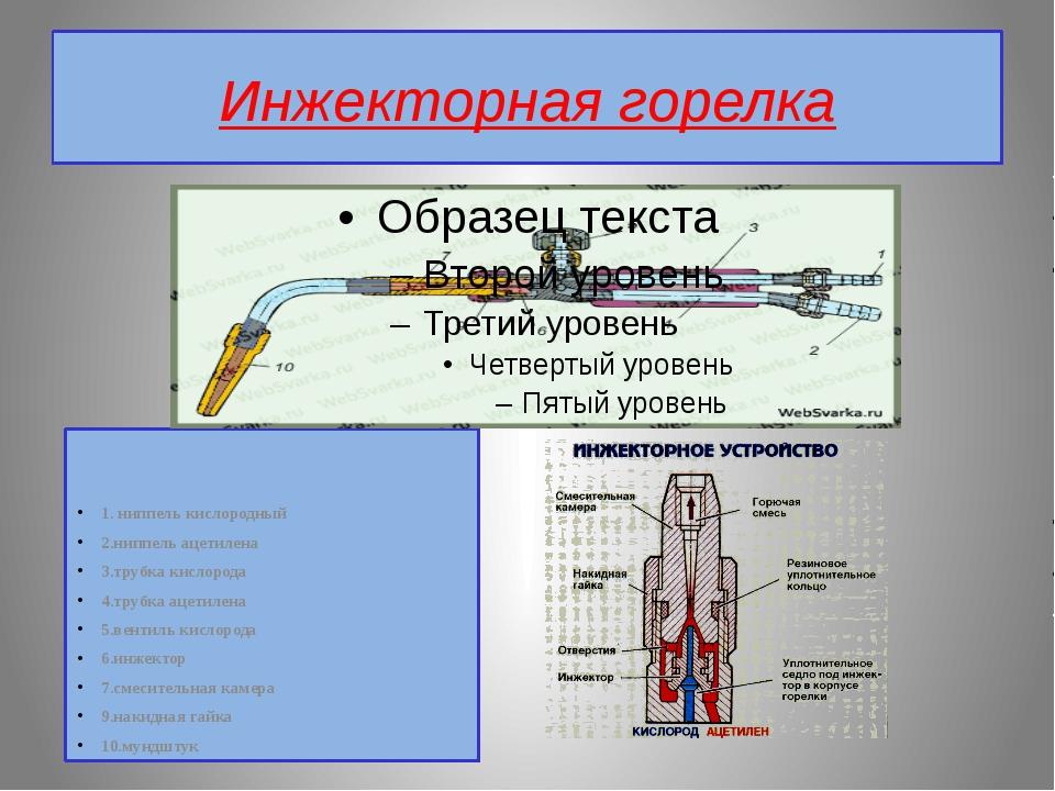 Инжекторная горелка 1. ниппель кислородный 2.ниппель ацетилена 3.трубка кисло...
