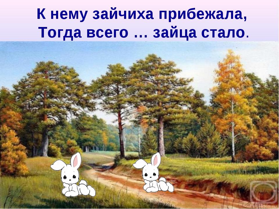К нему зайчиха прибежала, Тогда всего … зайца стало.
