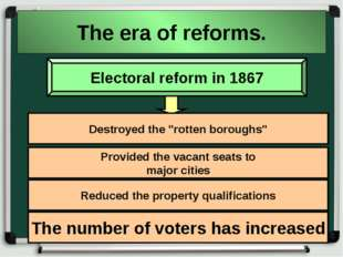 "The era of reforms. Electoral reform in 1867 Destroyed the ""rotten boroughs"""