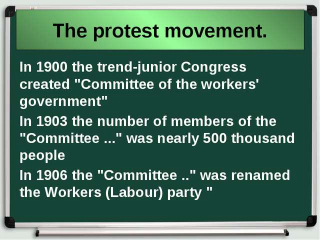 "The protest movement. In 1900 the trend-junior Congress created ""Committee of..."