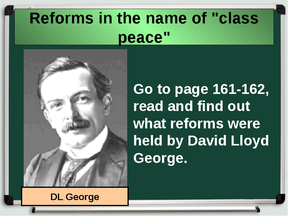 "Reforms in the name of ""class peace"" Go to page 161-162, read and find out wh..."