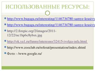 ИСПОЛЬЗОВАННЫЕ РЕСУРСЫ: http://www.bugaga.ru/interesting/1146734780-samye-kra