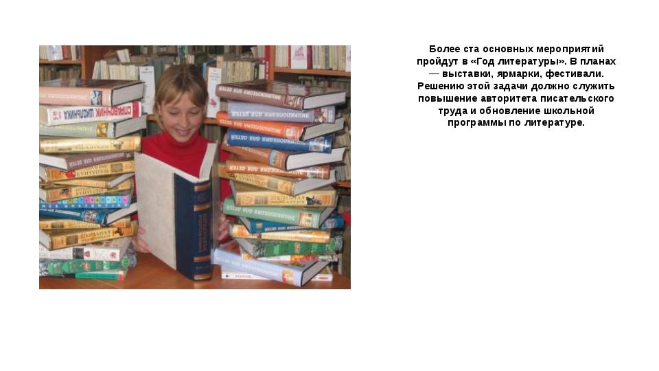 Более ста основных мероприятий пройдут в «Год литературы». В планах — выставк...