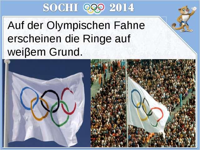 Auf der Olympischen Fahne erscheinen die Ringe auf weiβem Grund.