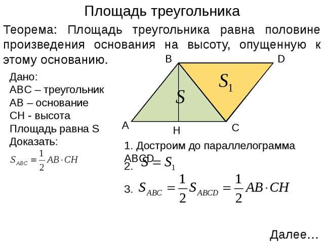 Следствия Следствие 1: Площадь прямоугольного треугольника равна половине про...