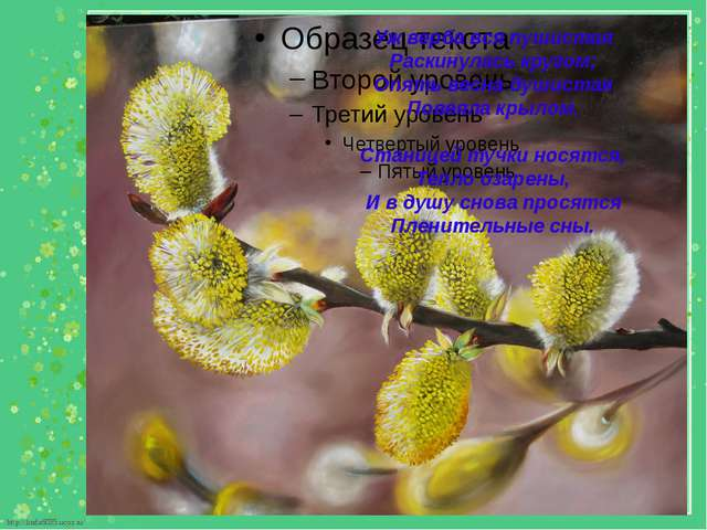 Уж верба вся пушистая Раскинулась кругом; Опять весна душистая Повеяла кры...