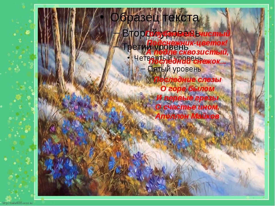 Голубенький, чистый Подснежник-цветок! А подле сквозистый, Последний снежок.....