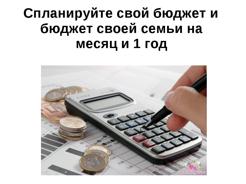 Спланируйте свой бюджет и бюджет своей семьи на месяц и 1 год