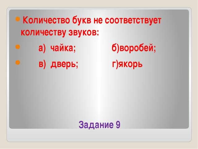 Задание 9 Количество букв не соответствует количеству звуков: а) чайка; б)вор...