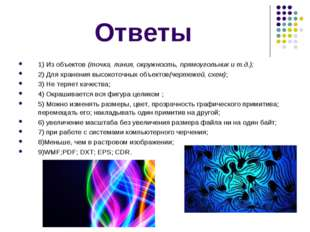 Ответы 1) Из объектов(точка, линия, окружность, прямоугольник и т.д.); 2) Дл