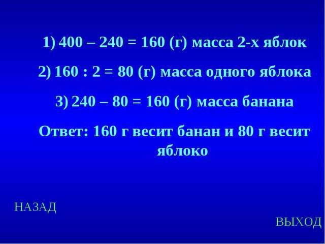 НАЗАД ВЫХОД 400 – 240 = 160 (г) масса 2-х яблок 160 : 2 = 80 (г) масса одного...