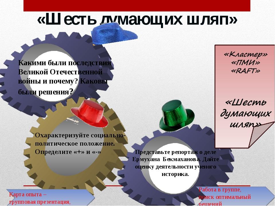 «Шесть думающих шляп» . Работа в группе, поиск оптимальный решений Карта опыт...
