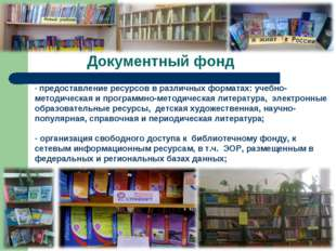 Документный фонд предоставление ресурсов в различных форматах: учебно-методич