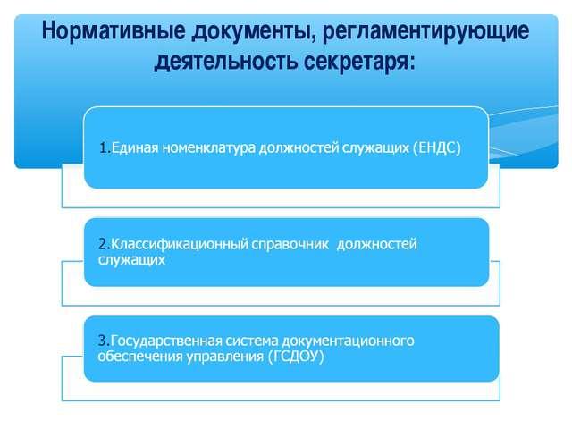Нормативные документы, регламентирующие деятельность секретаря: