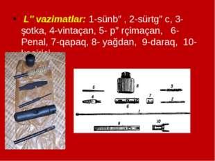 Ləvazimatlar: 1-sünbə, 2-sürtgəc, 3-şotka, 4-vintaçan, 5- pərçimaçan, 6-Pena