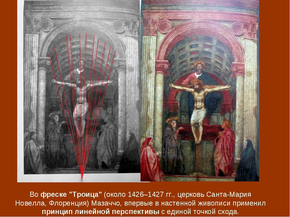 "Во фреске ""Троица"" (около 1426–1427 гг., церковь Санта-Мария Новелла, Флоренц..."