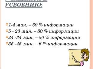СПОСОБНОСТЬ УЧАЩИХСЯ К УСВОЕНИЮ: 1-4 мин. – 60 % информации  5 - 23 мин. – 8