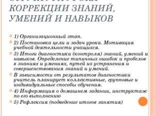 СТРУКТУРА УРОКА КОРРЕКЦИИ ЗНАНИЙ, УМЕНИЙ И НАВЫКОВ  1) Организационный этап.