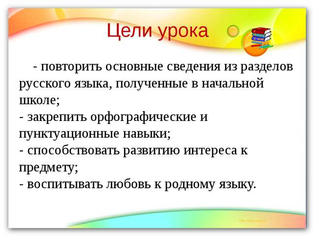 Цели урока - повторить основные сведения из разделов русского языка, полученн...