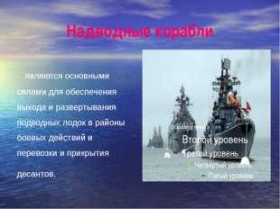Надводные корабли являются основными силами для обеспечения выхода и разверты