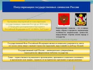 Популяризация государственных символов России Программа мероприятий по популя