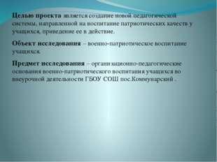 Целью проекта является создание новой педагогической системы, направленной н