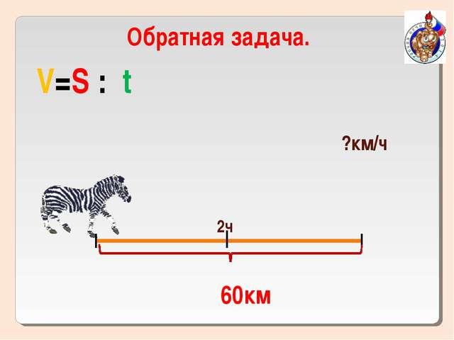 60км Обратная задача. V=S : t 2ч ?км/ч